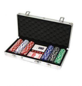 Afbeelding van aluminium Pokerset koffer met speelkaarten en fiches