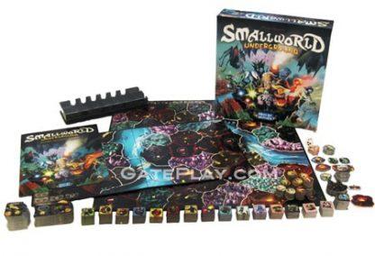 Afbeelding van het speelbord, toebehoren en doos van het bordspel Small world Underground uitbeiding