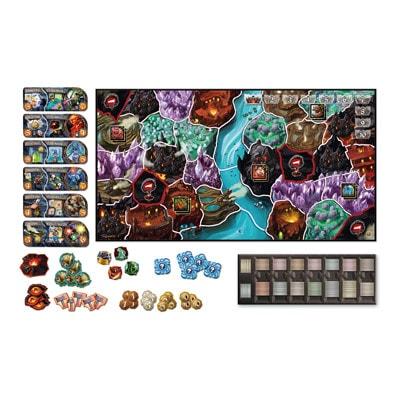 Afbeelding van het speelbord en toebehoren van de Engelse versie van het bordspel Small World Underground