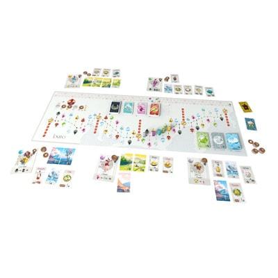Afbeelding van het speelbord en toebehoren van het bordspel Tokaido