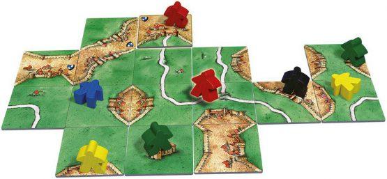 Afbeelding van het speelbord van het Carcasonne bordspel