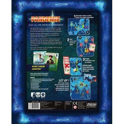 Afbeelding van de achterkant van de doos van de basiseditie van het bordspel Pandemic