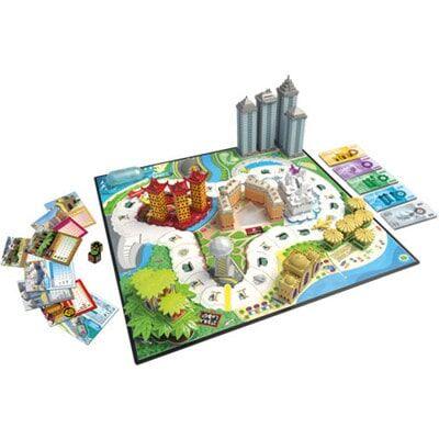 Afbeelding van het speelbord en spelonderdelen van het Hotel Deluxe bordspel