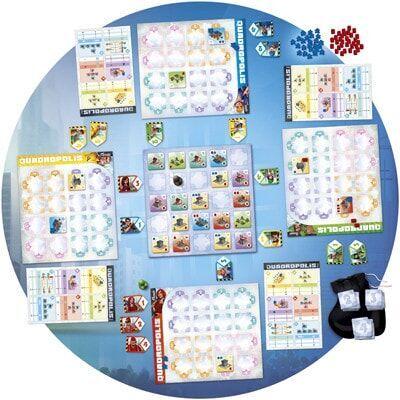 Afbeelding van het speelbord van het Quadropolis bordspel