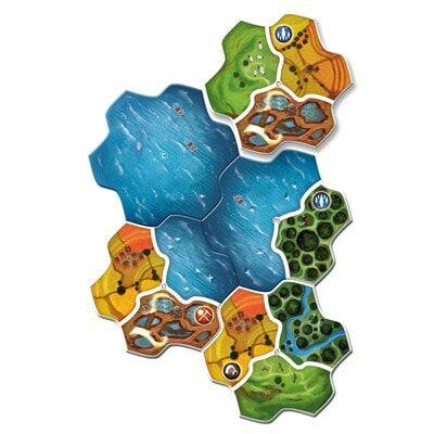 Afbeelding van het speelbord van het Engelse bordspel Smallworld Realms uitbreiding