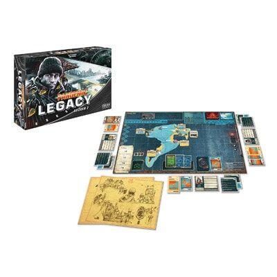 Afbeelding van het speelbord en de kaarten van het bordspel Pandemic Legacy Seizoen 2 Black