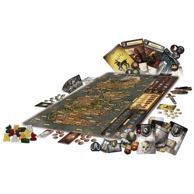 Afbeelding van het speelbord en de toebehoren van het Game of Thrones bordspel