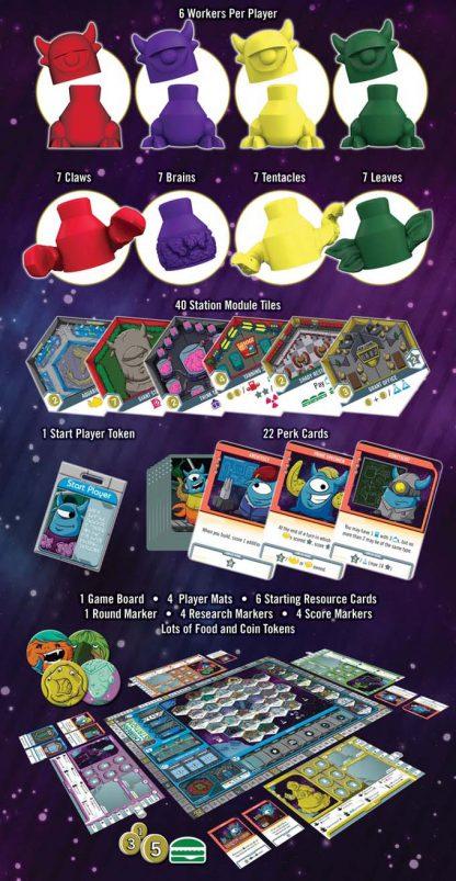 Afbeelding van het spelonderdelen van het bordspel Chimera Station