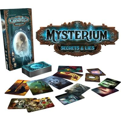 Afbeelding van de spelonderdelen van het Mysterium Secrets & Lies bordspel