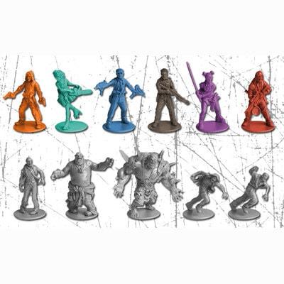 Afbeelding van spelers en monster pionnen van de basiseditie van het Zombicide bordspel