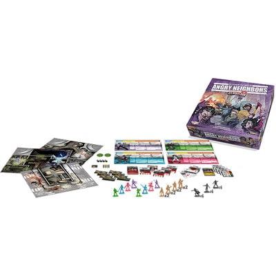 Afbeelding van de spelonderdelen van het Zombicide Angry Neighbors bordspel