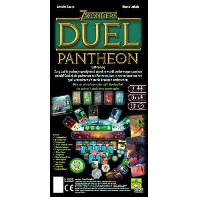 Achterkant van de doos van de Nederlandse versie van het bordspel 7 Wonders Duel Pantheon