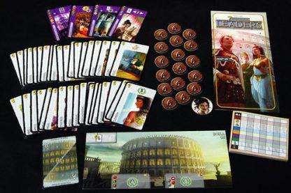 Toebehoren van de Nederlandse versie van het bordspel 7 Wonders Leaders