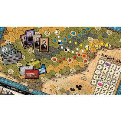 Afbeelding van het speelbord van het American Rails bordspel