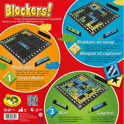 Achterkant van de doos van de Nederlandse versie van het bordspel Blockers!