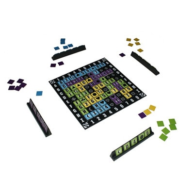 Speelbord en rekjes van de Nederlandse versie van het bordspel Blockers!