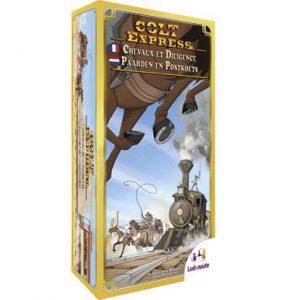 Productfoto van de Nederlandse versie van het bordspel Colt Express Paarden en Postkoets