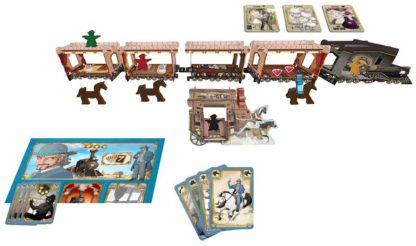 Afbeelding van de spelonderdelen van het bordspel Colt Express - Paarden en Postkoets