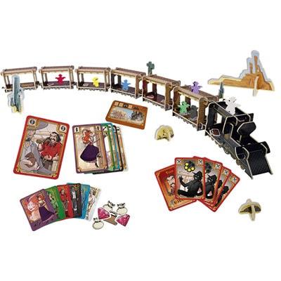 Speelkaarten en Trein van de Nederlandse versie van het bordspel Colt Express