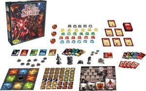 Spelonderdelen van de Nederlandse versie van het bordspel Ghost Stories Black Secret Uitbreiding