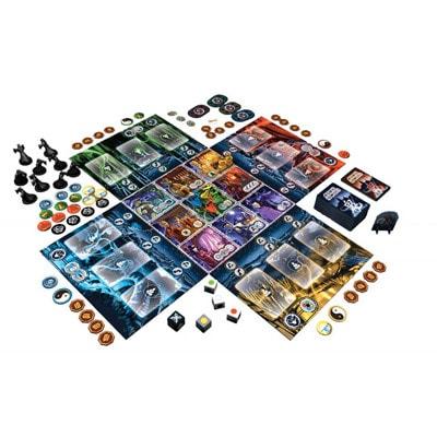 Afbeeldiing van het speelbord en de spelonderdelen van het bordspel Ghost Stories