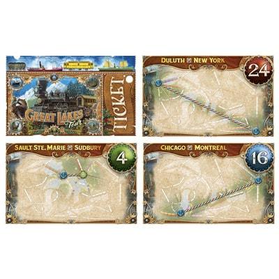 Afbeelding van enkele speelkaarten van het bordspel Ticket to Ride Rails & Sails