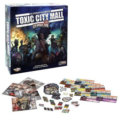 Afbeelding van een overzicht van de toebehoren van het bordspel Zombicide Toxic City Mall