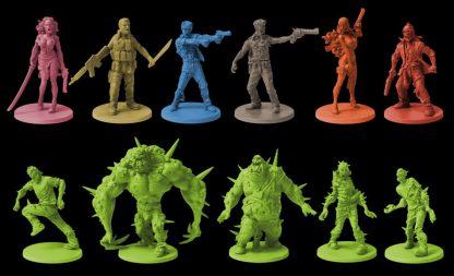 Afbeelding van enkele pionnen van het bordspel Zombicide Toxic City Mall