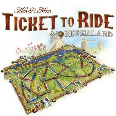 Foto van een impressie van het bordspel Ticket to Ride Nederland