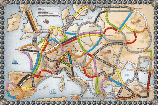 Afbeelding van het speelbord van het bordspel Ticket to Ride Europe