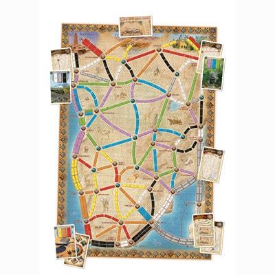 Speelbord van de Nederlandse versie van het bordspel Ticket to Ride Africa
