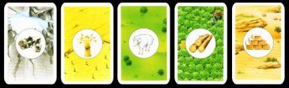Grondstof kaarten van het bordspel de kolonisten van catan basisversie