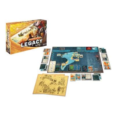 Afbeelding van de spelonderdelen van het bordspel Pandemic Legacy Seizoen 2 Yellow