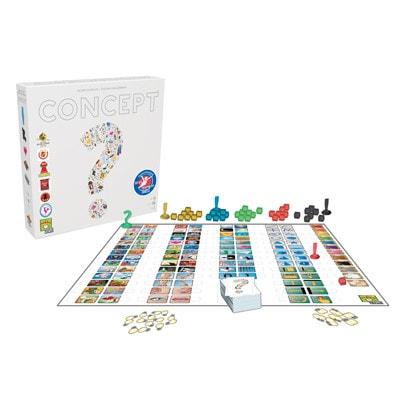 Afbeelding van de speeldoos en attributen van het bordspel Concept