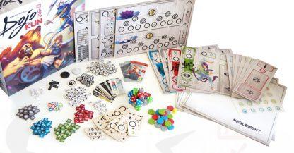 Afbeelding van de speeldoos en attributen van het bordspel Dojo Kun
