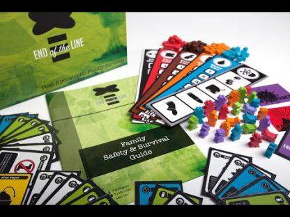 Afbeelding van de speeldoos en attributen van het bordspel End of the Line
