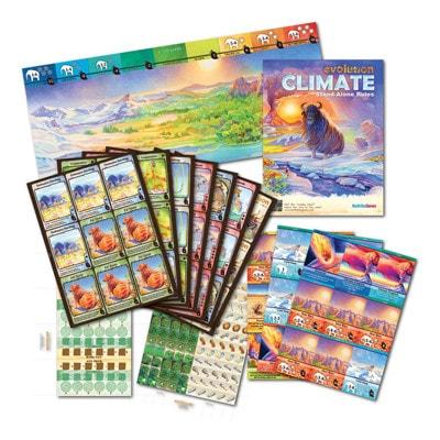 Afbeelding van de speldoos en attributen van het bordspel Evolution Climate