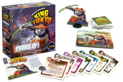 Afbeelding van de speldoos en attributen van het bordspel King of Tokyo Power Up Expansion