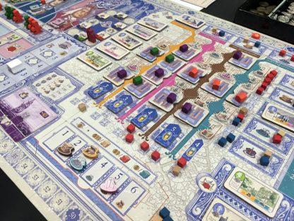 Afbeelding van een spelimpressie van het bordspel Lisboa