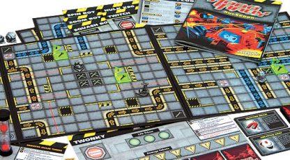 Afbeelding van het speelbord en attributen van het bordspel Robo Rally