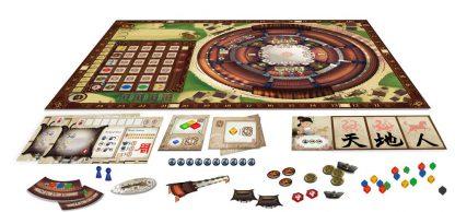 Afbeelding van het speelbord en attributen van het bordspel Round House