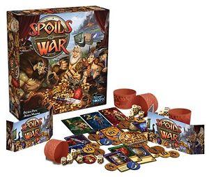 Afbeelding van de speldoos en attributen van het bordspel Spoils of War