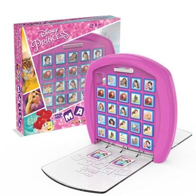 Afbeelding van de speldoos en het speelbord van het bordspel Top Trumps Disney Match Princess