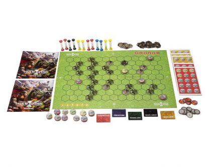 Afbeelding van het spelbord en attributen van het bordspel Wartime