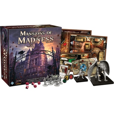 Doos en spelonderdelen van Mansions of Madness Second Edition