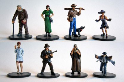 Impressie van geverfde figuren van Mansions of Madness Second Edition