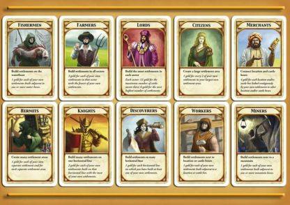 Karakterkaarten van Kingdom Builder Second Edition Big Box