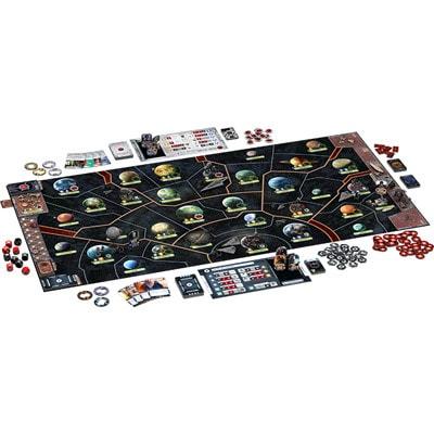 Speelbord en onderdelen van Star Wars Rebellion