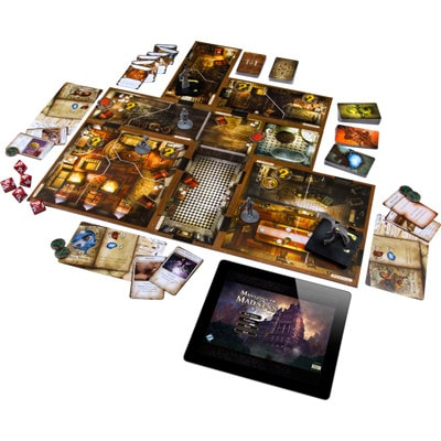 Speelbord en spelonderdelen van Mansions of Madness Second Edition