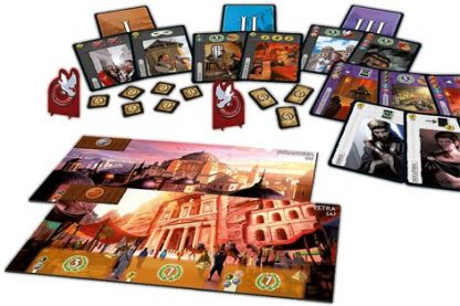Afbeelding van het speelbord en toebehoren van 7 Wonders Cities